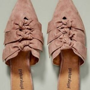 Jeffrey Campbell Pink Suede Charly Triple Bow Mule